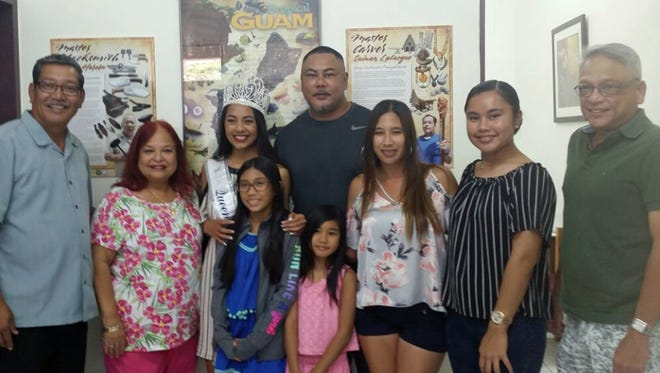 The 2017 Sons and Daughters of Guam Liberation Queen of San Diego, Calif. visited the office of Sen. Joe S. San Agustin to thank him for his support July 18. Pictured from left: Sen. San Agustin, Sponsor June Perez, Queen Marleena Lute, Rod Lute, Father, Eriela Salas (in blue), Emelia Salas (in pink), Nina Michelle Cachero, Maleia Lute, Sister, and George Bamba.