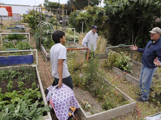 Martin Madrid, left, holds his baby daughter as he and Robert Gross, center, listen to Jim Creager at the Chinatown Community Garden in early June. Both Gross and Creager maintain raised garden beds there.