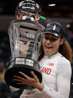 Shakira Austin holds the trophy after Maryland won the Big Ten Conference tournament in March
