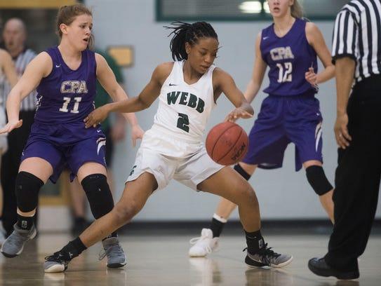 Webb's Jasmine Jefferson (2) dribbles the ball during