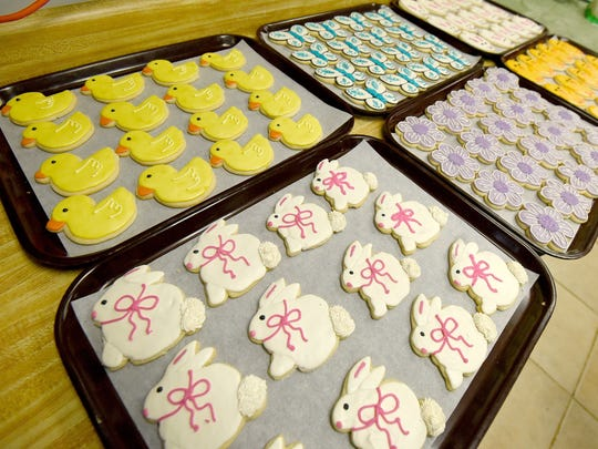 An assortment of Easter and Spring inspired cookies available at cobblestone Confections.