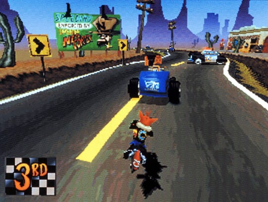 A scene from 'Crash Bandicoot: Warped' for Sony PlayStation.