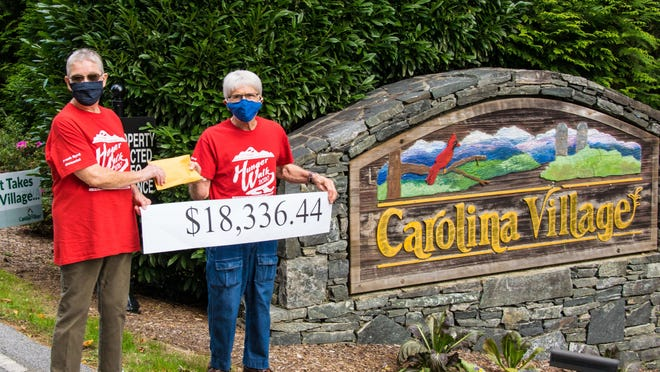 Don Streb, Carolina Village resident and member of the CV Hunger Walk committee, presents Joyce Jolly, chair of the Board of Directors for HCHC, the $18,336.44 donation from Carolina Village. The Hunger Walk at Carolina Village is an annual tradition that has been honored and supported by Carolina Village residents for 38 years. This year's fundraiser was a success.