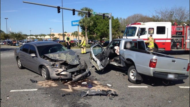One person was seriously hurt and two people sustained minor injuries in a crash in Titusville on Saturday.