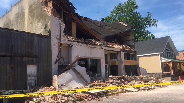 This commercial building at 49 Market Street in downtown Onancock collapsed Tuesday morning.
