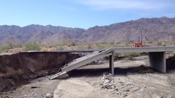 The Tex Wash Bridge on Interstate 10 near Desert Center collapsed during heavy rains on July 19.