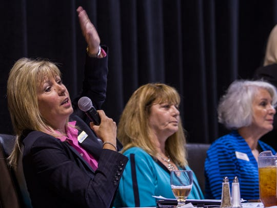 Kristy Rigot, system director of human resources for Lee Memorial Health System, addresses the crowd attending a panel discussion during the workforce summit presented by the Above Board Chamber of Florida at Harborside Event Center Thursday afternoon.