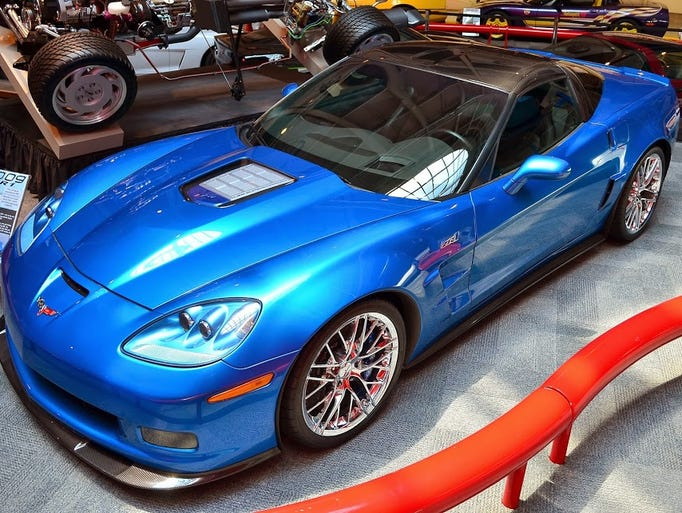 """At the time of its release, the 2009 ZR1 """"Blue Devil"""" Corvette was the most powerful stock production car General Motors ever with a top speed of more than 200 mph and a 638-horsepower engine. It is one of eight Corvettes that fell into a sinkhole that opened up under the National Corvette Museum on Feb. 12, 2014, in Bowling Green, Ky."""