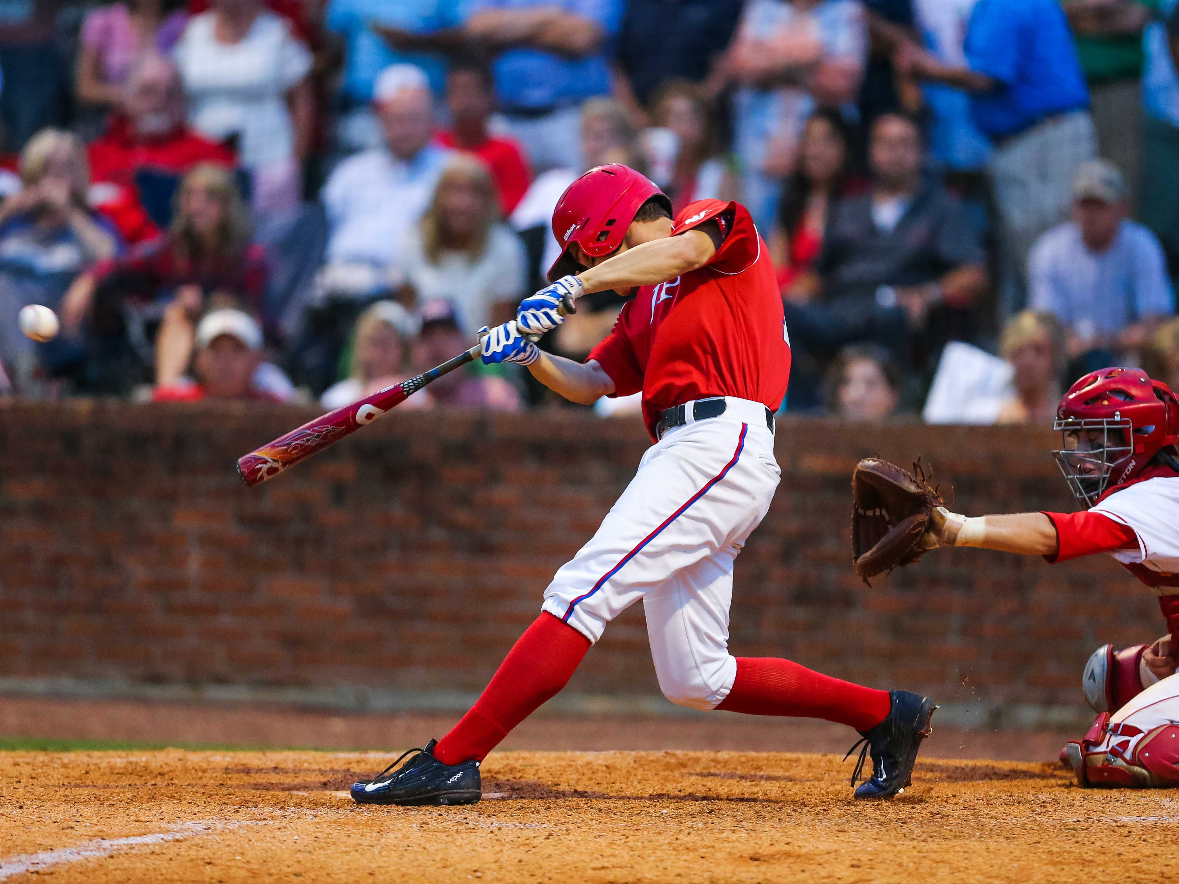 Jackson Prep's Jake Mangum hits a run-scoring double against MRA during the MAIS AAA Division 1 series opener at MRA.
