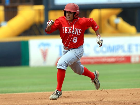 Ray's Isaac Flores runs to second base against Calallen during game 3 of the Class 5A regional quarterfinals series on Saturday, May 20, 2017, at Whataburger Field in Corpus Christi.