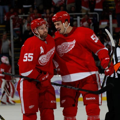 Detroit Red Wings Niklas Kronwall is congratulated