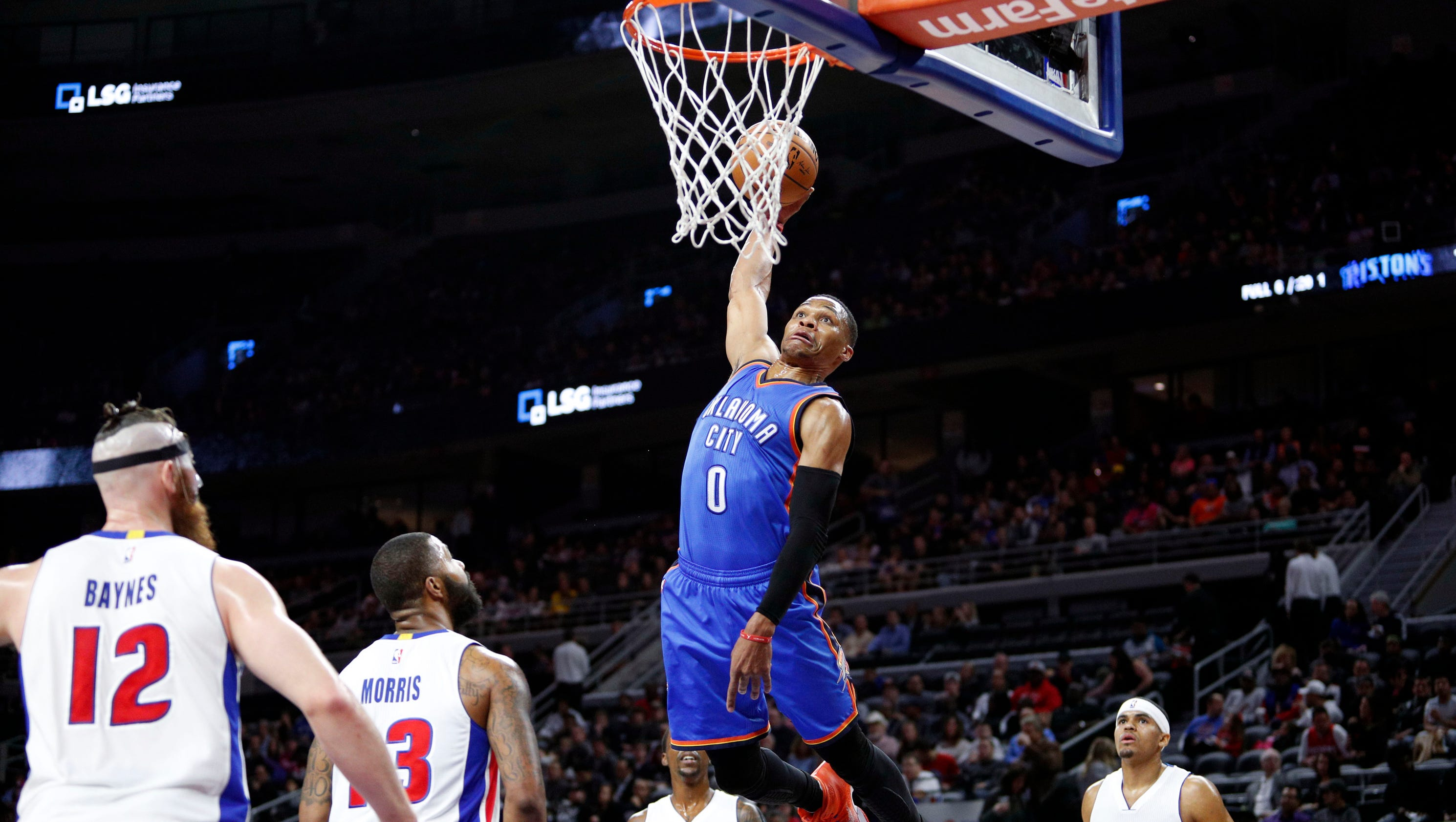 The Pistons wanted no part of this Russell Westbrook dunk