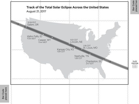The back of the stamp pane of a new U.S. Postal Service stamp shows the path of the Aug. 21 total solar eclipse.