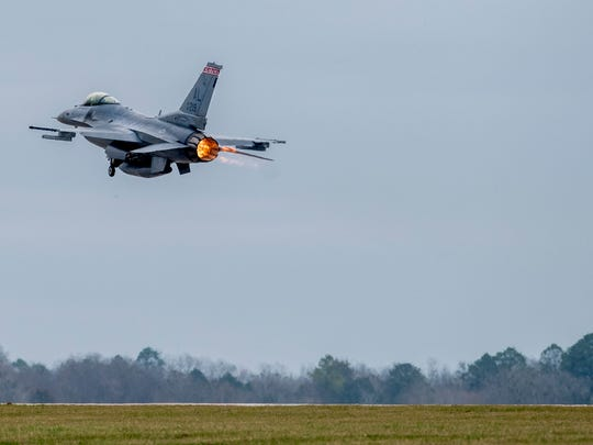 Major Rich Peace flies his F-16 at the 187th Fighter Wing of the Alabama Air National Guard in Montgomery, Ala. on Thursday February 14, 2018.