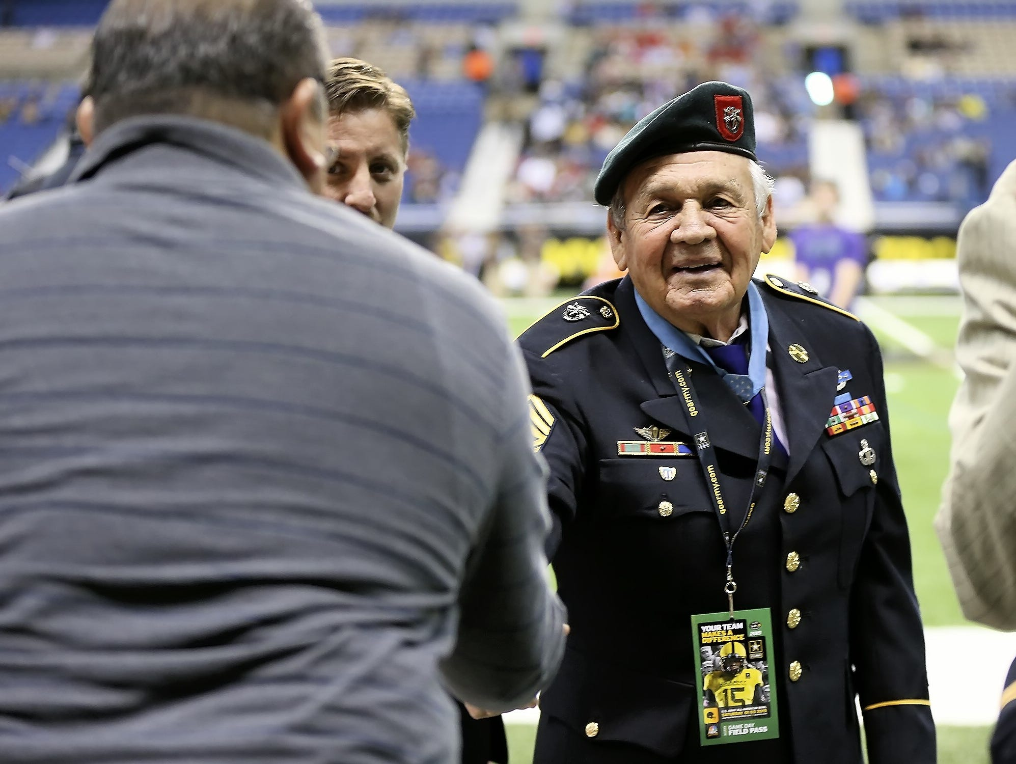 Retired Army Master Sgt. Jose Rodela, who was honored before the U.S. Army All-America Bowl on Saturday, has lived in San Antonio since 1975.