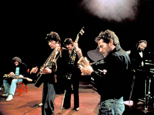 "Richard Manuel, left to right, Robbie Robertson, Rick Danko, Levon Helm and Garth Hudson in a scene from the 1978 documentary ""The Last Waltz."""