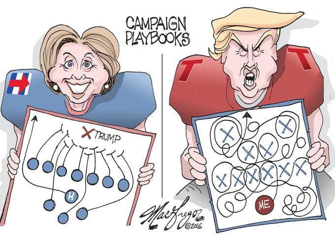 Doug MacGregor cartoon, Clinton-Trump playbooks