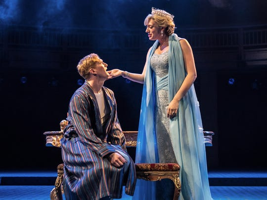 """The Ghost of Princess Diana (Sarah Chalcroft) appears to Prince William (Jordan Dean) in """"King Charles III"""" at Chicago Shakespeare Theater."""
