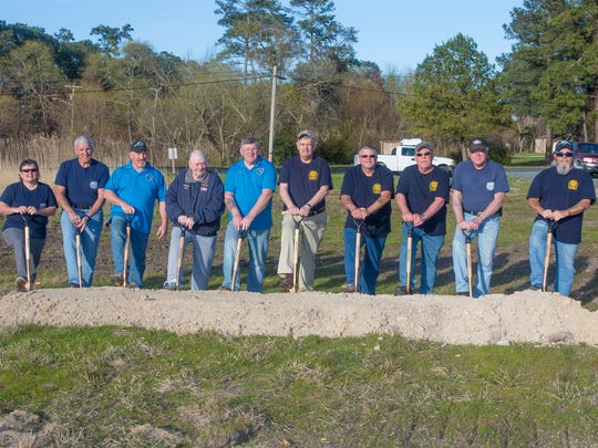 Members of the Chincoteague Volunteer Fire Company New Building Committee broke ground for a new fire station on Chincoteague, Virginia on Monday, April 20, 2017. Left to right, Denise Bowden, Billy Joe Tarr, Ronnie Malone, J. Wesley Jeffries, Harry Thornton, Willis Dize, Nathan Clark, Eddie Thornton, Ollie Reed and Roe Terry.