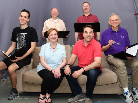 "The cast of ""Standing on Ceremony: The Gay Marriage Plays"" includes (clockwise from left) Thomas Vorsteg, Robert Golder, Ted Cancila, Bill Cantor, Matthew Rofofsky and Marci Weinstein. This anthology of short plays is being performed for two nights only at the Little Firehouse Theater in Oradell on June 10 and 11."