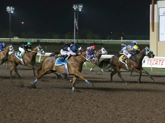 Bodacious Eagle on his way to winning the $100,000 Leo Stakes at Remington Park.
