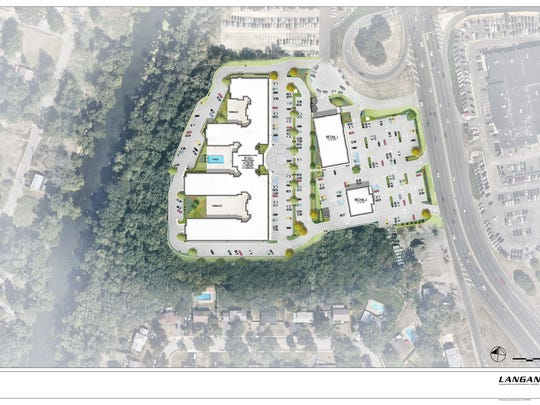 Overhead view of the proposed Route 23 project which would bring a five-story apartment building and retail space to a currently vacant tract of the highway.