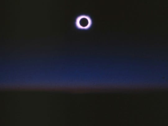 Jack Carte shot this photograph of the total eclipse of the sun from an F-106 fighter jet in Montana.