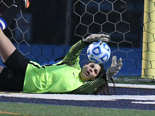 Middletown keeper Gabrielle Cook makes a great save in the 2nd half vs. Allentown. Girls Soccer Group III final between Middletown South and Allentown. (Larry Murphy | For the Press)