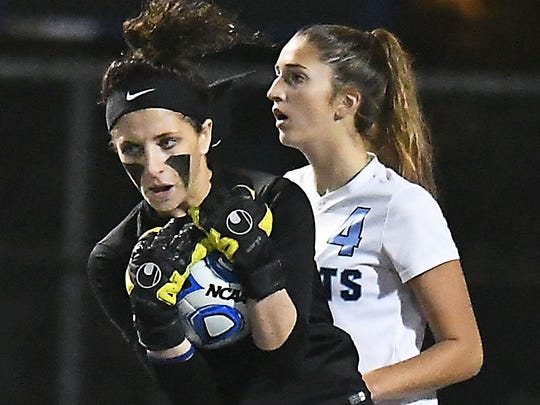Freehold Twp keeper Alessia LaRosa makes another great save. Girls Soccer Group 4 final between Freehold Twp and Ridge (Larry Murphy | For the Press)