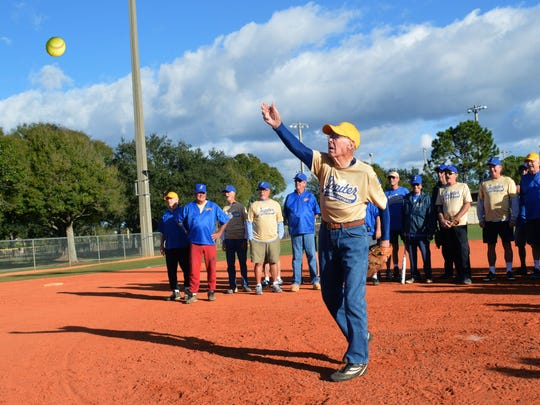 Bill Kingan, pictured in this file photo at age 89, throws out the first pitch Jan. 9, 2017 to launch this past year's Winter League of the Jupiter Senior Softball Association. From Butler, Pennsylvania, Kingan turned 90 in May and says he expects to play in the 2018 Winter League, to launch in January.