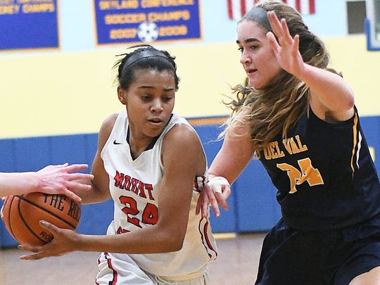 Mount St. Mary sophomore Alexis Brown looks for rook against Delaware Valley's Amanda Kix on Thursday night.