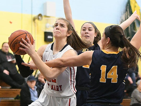 Mount St. Mary's Gina Neigel (12) tries to work through