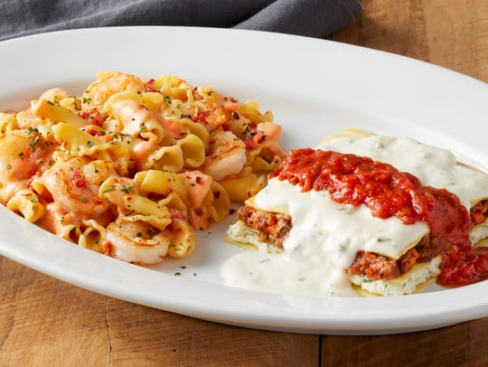 Bravo's combo meal featuring Shrimp Fra Diavolo and