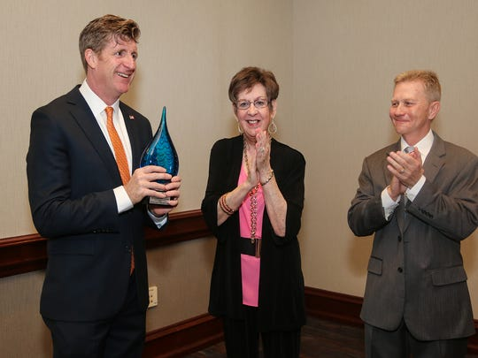 Patrick Kennedy (left) was awarded with Meridian Health
