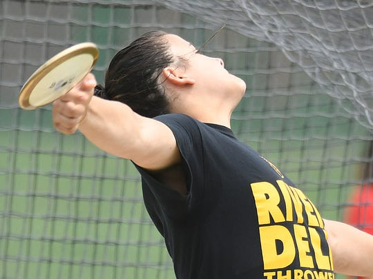 River Dell's Laura Rizik competes in the discus at the Track and Field Group 2,3 and Non-Public B Championships at Central Regional HS on Saturday, June 2, 2018.