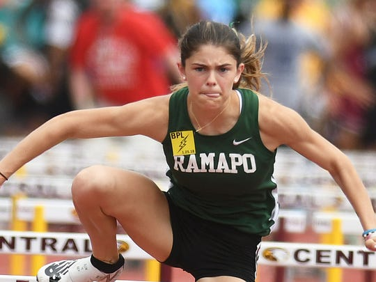 Ramapo's Grace O'Shea competes in the 100 mm Hurdles at the Track and Field Group 2,3 and Non-Public B Championships at Central Regional HS on Saturday, June 2, 2018.