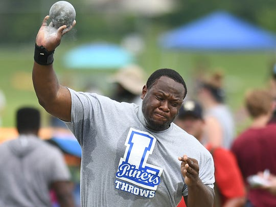 Lakewood's Josh Lezin competes in the Shot Put at the Meet of Champions Track & Field at Northern Burlington HS
