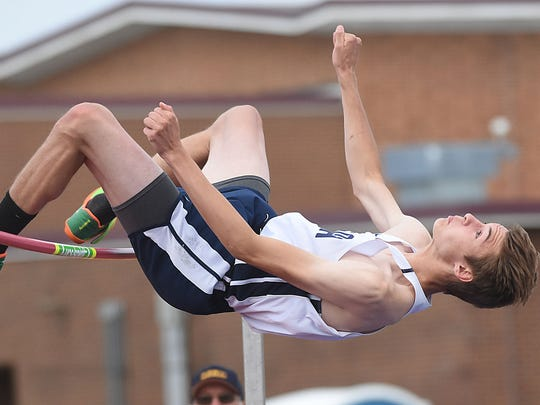 Middletown South's Mark Anselmi competes in the High Jump at the Meet of Champions Track & Field at Northern Burlington HS