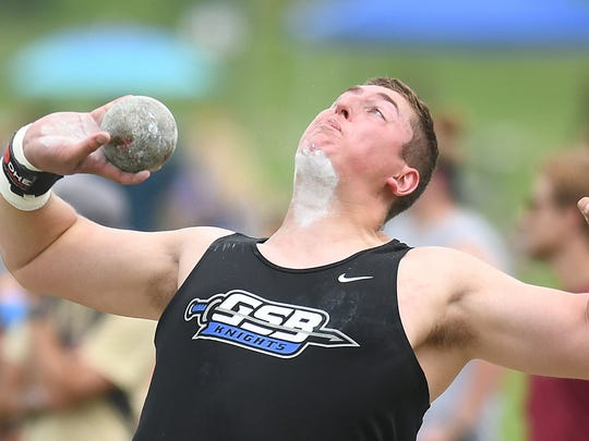 Gil St. Bernards GJ Licata wins the shot put  at the Meet of Champions Track & Field at Northern Burlington HS