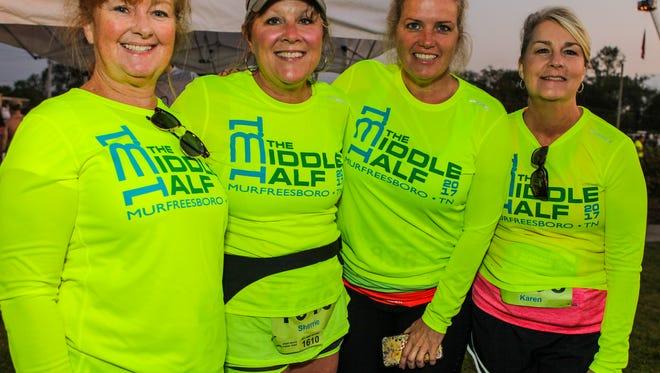 Kim Uselton, Sherrie McGuire, Tracy Gagnier and Karen Moran were among the participants in the 2017 Murfreesboro Half Marathon.