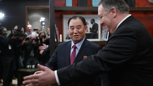 Secretary of State Mike Pompeo, right, and Kim Yong Chol, a North Korean senior ruling party official and former intelligence chief, walk from a photo opportunity at the The Dupont Circle Hotel in Washington, Jan. 18, 2019.