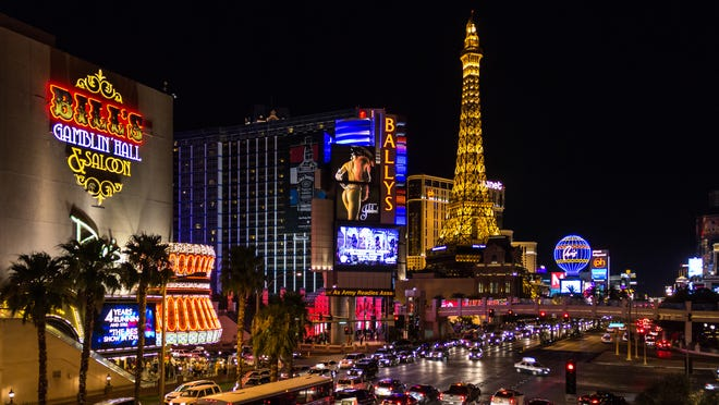 The lights of The Strip shine in Las Vegas in this 2012 photo.