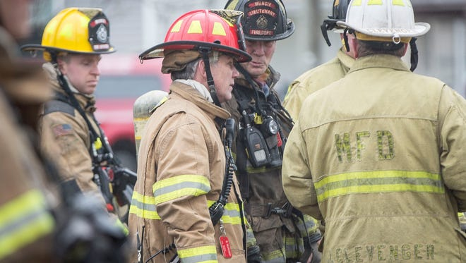 Muncie firefighters respond to the third fire in a twelve hour period in the 1300 block of East Fifth Street. The cause of the fire is currently under investigation.