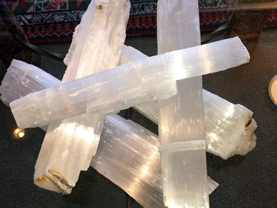 These selenite logs are 16 to 19 inches long and conduct light well as an accent piece made of natural material.