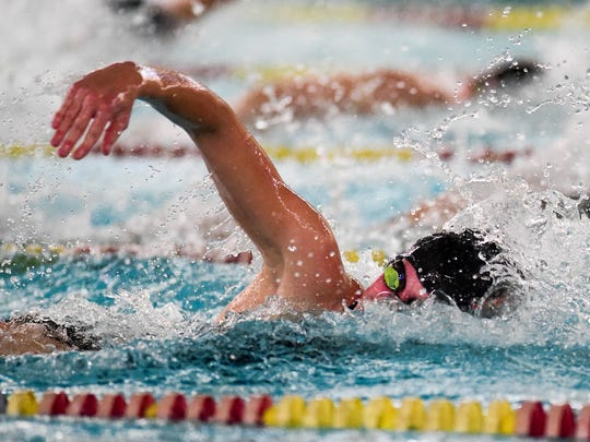 Ames' Amy Feddersen swims the 50-yard freestyle Tuesday, Oct.11, 2016, during a girls swim meet between the Ames Little Cyclones and Ankeny Hawks at the Ankeny YMCA.
