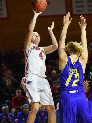 Marist College's Allie Clement takes a jumper against Delaware at McCann Arena on Nov. 19, 2015.