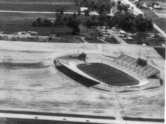 There wasn't much on Green Bay's west side when the new stadium went up in 1957. The aerial view looks south from over Highland Avenue, now Lombardi Avenue. The recently razed homes on Barberry Lane are at upper right.
