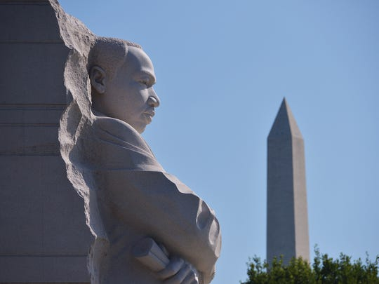"""The Stone of Hope"" statue is seen at the Martin Luther King Jr. Memorial in Washington, DC."