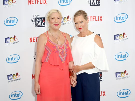 """Tori Spelling, left, and Jennie Garth, who starred in the original """"Beverly Hills, 90210,"""" helped conceive the upcoming Fox summer series, """"90210,"""" which will feature most of the original cast members playing heightened versions of themselves as they reunite for a reboot of the original."""