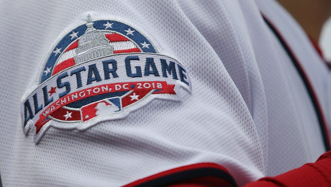 A view of the 2018 MLB All-Star Game patch on the jersey Washington Nationals right fielder Bryce Harper.